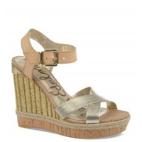 Sam Edelman Clay Womens Natural Gold Leather Ankle Strap Platform Wedges Shoes 8