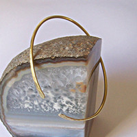 Gold Armlet - Brass Armband - Brass Hammered Lightly Curved Armband - Upper Arm Cuff - Brass Armlet - Made to Order