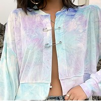 New gradient fashion long-sleeved sweater baseball tie-dye buckle suede jacket