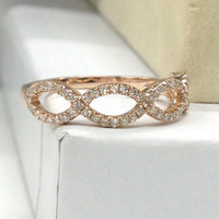 Diamond Wedding Ring 14K Rose Gold,Loop Curved,Flower Floral Round Cut Diamond, Matching Band,Anniversary Fine Ring,Stackable,Fashion New