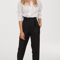 Paper-bag Pants - Black - Ladies | H&M US