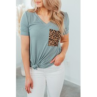 Leopard Pocket Tee - Light Green (S-3X)