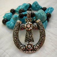 Turquoise Necklace with Horseshoe and Cross Pendant
