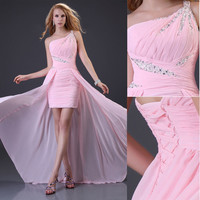 2015 Sexy Formal evening prom gown ball cocktail clubwear short High-low dresses