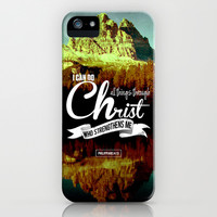 Typographic Motivational Bible Verses - Philippians 4:13 iPhone & iPod Case by The Wooden Tree