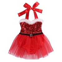 Christmas born Infant Baby Girls Rompers Jumpsuit Santa Tutu Lace Dress XMAS Outfits Costume