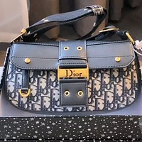 Christian Dior Women's Embroidered D Letter Shoulder Bag Crossbody Bag