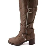 Bamboo Belted Heel Knee-High Motorcycle Boots - Taupe