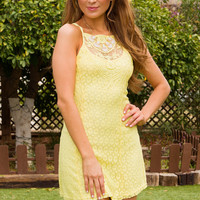 Monet Lace Dress - Yellow