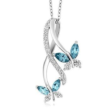 Mother and Child Butterfly Blue Topaz Necklace in