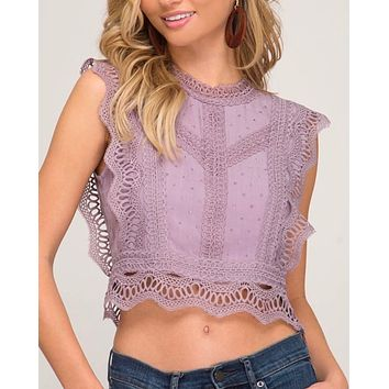 It's You Polka Dot Woven Crop Top in Misty Lilac