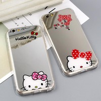 Jamular Cute Cat Hello Kitty Mirror Phone Case for iPhone 6 6s 7 8 Plus Silicone Soft Phone Cover for iPhone X 10 6 6S Plus 7 8