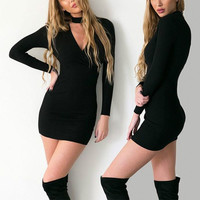 Women Long Sleeve Knitted Dress Casual Bodycon Sweater Dress Sexy V-Neck Party Dresses +Free Christmas Gift -Random Necklace