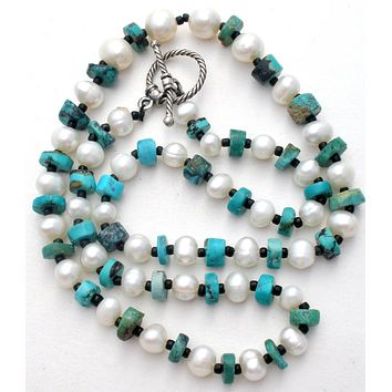 """Turquoise Bead & Pearl Necklace 18"""""""