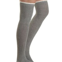 Ruffle-Topped Over-the-Knee Socks by Charlotte Russe - Gray Combo