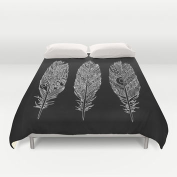 Patterned Plumes - White Duvet Cover by Kyle Naylor