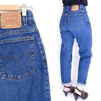 """Size 8 90s Levi's 550 High Waisted Mom Jeans - Vintage Stone Washed Dark Blue Denim Relaxed Fit Tapered Leg Women's Jeans - 28"""" Waist"""