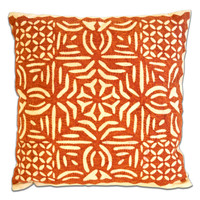 Orange & White Geometric Embroidered Throw Pillow