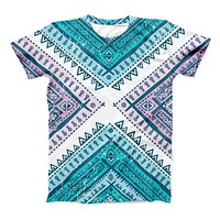 The Ethnic Aztec Blue and Pink Point ink-Fuzed Unisex All Over Full-Printed Fitted Tee Shirt