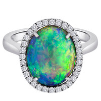 Australian Opal Diamond Ring