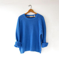 vintage blue sweater. boxy cotton sweater. loose knit sweater. basic sweater.