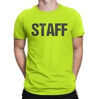 OFFICIAL  Neon Staff T-Shirt Front & Back Print Mens Event Shirt Yellow Tee