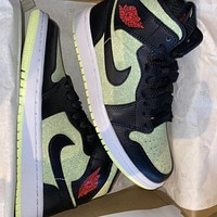 "Air Jordan 1 Mid SE ""Barely Volt"" mid-top casual sneakers shoes"