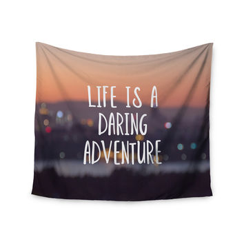 """Jillian Audrey """"Life Is A Daring Adventure"""" Typography Wall Tapestry"""
