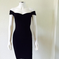 The Cherrybomb Pencil Dress, ROCKABILLY 1950s Style Wiggle Dress, Pin Up Mod Black Pencil Skirt Dress, Capped Sleeve Off the Shoulder Sexy