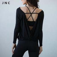 2016 Women Shirts Quick Dry Workout Blouses Sport Jerseys Open Back Yoga Top Shirts Long Sleeve in Black Activewear For Women