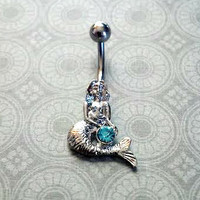 Mermaid Belly Button Ring with Blue Stone
