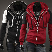 Trendy Fashion Men Double Zip Mens Hoodie