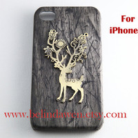 elk iphone 5 case, vintage deer elk charm black wood grain color iPhone 5 case, iPhone 5 Hard Case, iphone case