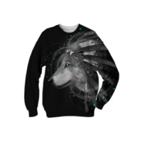 Don't Define Your World In Black & White (Chief of Dreams: Wolf) Unisex Sweatshirt created by soaringanchordesigns   Print All Over Me