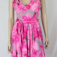 Banana Republic Dress M size Pink Ruffled Tank Womens Floral Lightweight Party