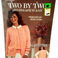 Womens Sweater Sets to Knit Two By Two Pattern Knitting Book Leisure Arts 1985