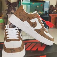 LV Louis Vuitton NIKE Air force 1 stitching color letter print low-top men's and women's sneakers Shoes Brown
