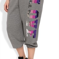 Plus Size Rolled Sweatpant with Ombre Love Screen Down Leg