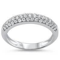 14K White Gold Ethically Mined .54TCW Round Cut French Pave Diamond Wedding Band