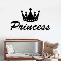 Vinyl Wall Decal Princess Word Crown Nursery Decor For Girls Rooms Stickers Unique Gift (1101ig)