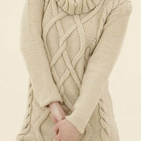 Hand Knit Long  Sweater Tunic  Cable Pattern With large Collar   from organic cotton  or merino wool  Custom Orders Accepted