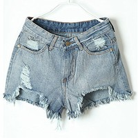 Retro Washed Denim Distressed Shorts with High Low Raw Cuff Edge