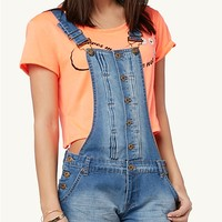 Front Button Overall Shorts