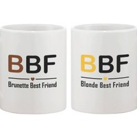 Cute Matching Coffee Mugs for Best Friends - Brunette Best Friend and Blonde Best Friend - BFF gift and accessories