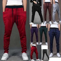New 2016 Mens Joggers Fashion Harem Pants Trousers Hip Hop Slim Fit Sweatpants Men for Dance 8 Colors pants Hot