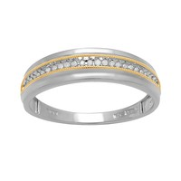 18k Gold Over Silver & Sterling Silver 1/10-ct. T.W. Diamond Wedding Band (White)