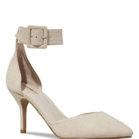 BUCKLED STRAP POINTED TOE D'ORSAY RUNWAY PUMP