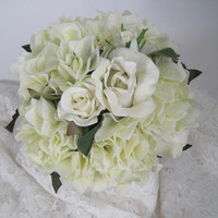Bridal Bouquet Ivory Cream Roses and Hydrangea French Knotted with Gorgeous Rhinestone Brooch on Front of Handle...Ready to Ship