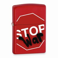 Zippo Stop War Red Matte Lighter - Engravable Personalized Gift Item
