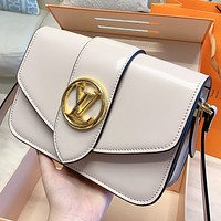 LV New fashion more letter canvas shoulder bag crossbody bag handbag Beige&White